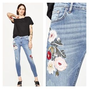 Zara Floral Embroidered Helen Skinny Ankle Jeans